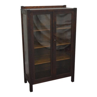 Antique Mission Oak 2 Door Bookcase