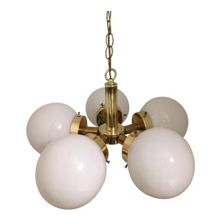 Modern Brass 5-Arm Orb Globes Chandelier