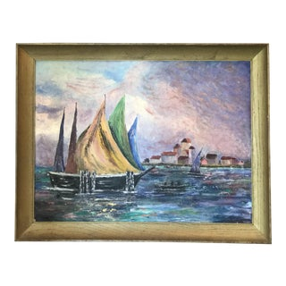 Vintage Oil Painting of Harbor & Sailboats