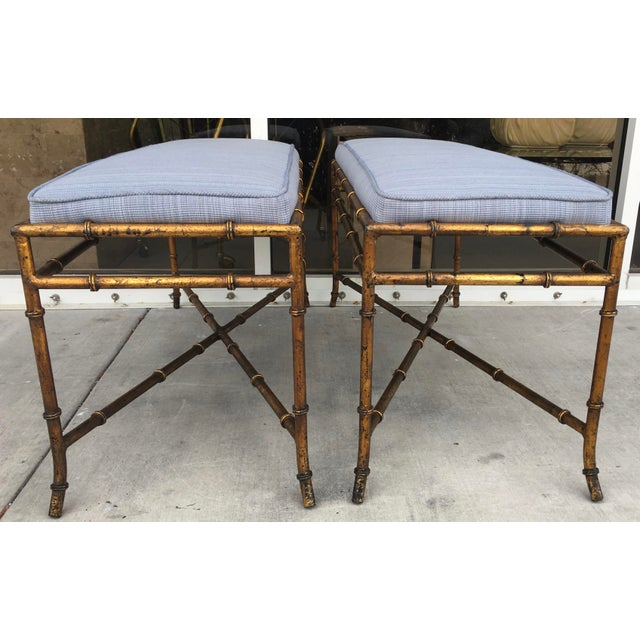 Vintage Faux Bamboo Base Benches - A Pair - Image 4 of 5