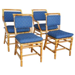 McGuire Blue-Cushioned Dining Chairs - Set of 4