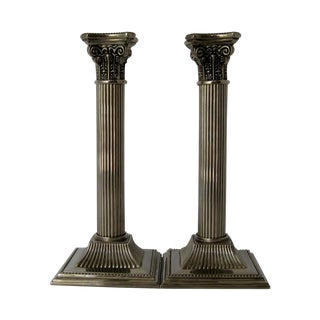 Silverplate Column Candlesticks - a Pair