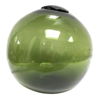 Olive Green Glass Float From Czechoslovakia