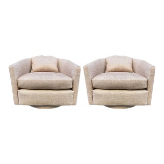 Pair Milo Baughman Swivel Lounge Chairs