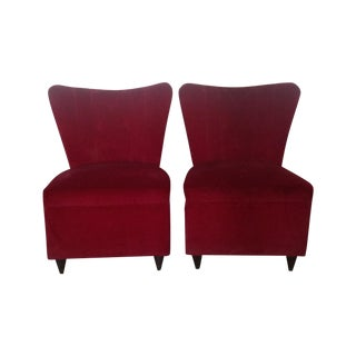 Petite Red Velvet Slipper Chairs
