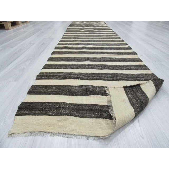 Black & White Striped Vintage Turkish Kilim Rug