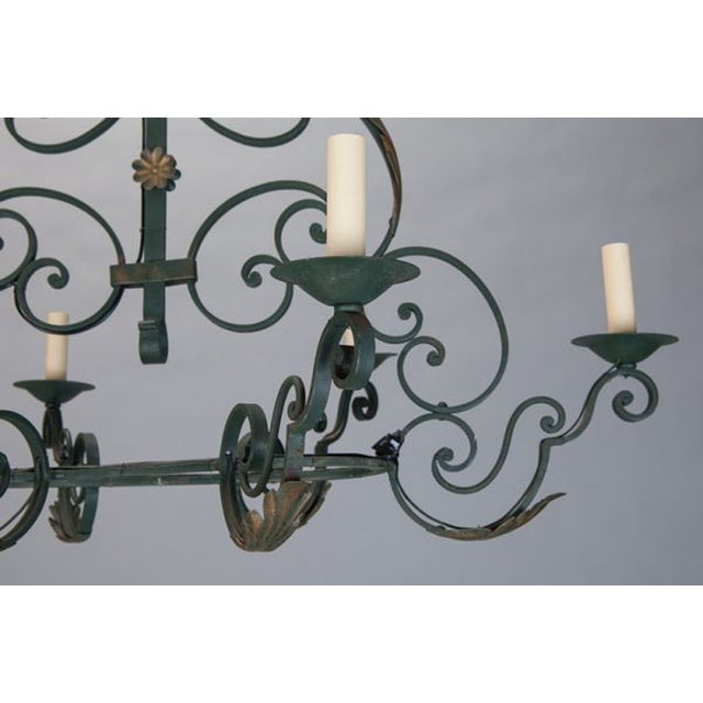 French 6-Light Green Wrought Iron Chandelier - Image 3 of 5