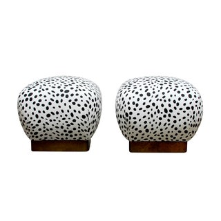 Karl Springer Style Vintage Souffle Poufs - A Pair