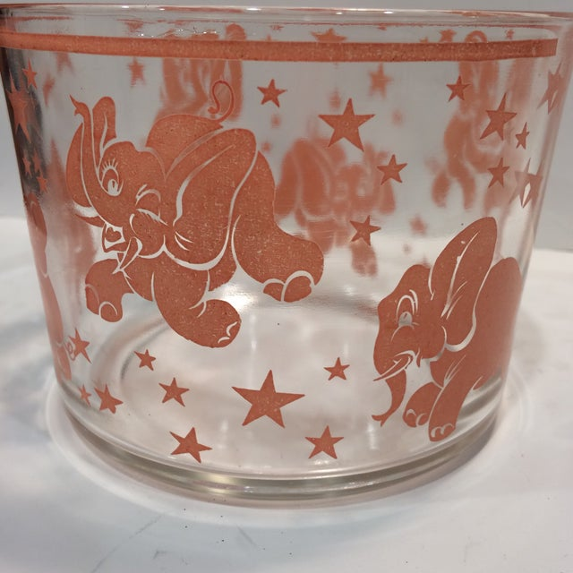 Image of Vintage Hazel-Atlas Glass Pink Elephant Ice Bucket & Tongs