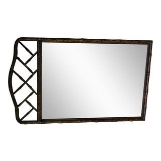 "HENREDON Asian Campaign Style Faux Bamboo Mirror 48""H x 29""W"