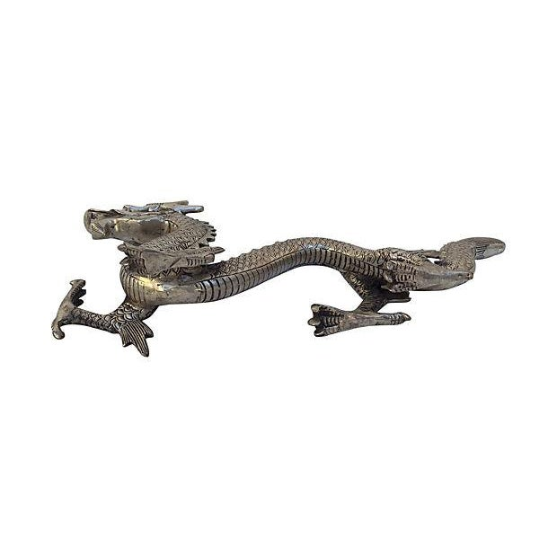 Silver Mid Century Metal Dragon Statue - Image 2 of 7