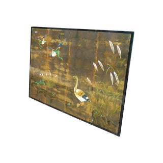 Vintage Oriental Asian Japanese Gold Lacquered Wall Panels Picture W Geese