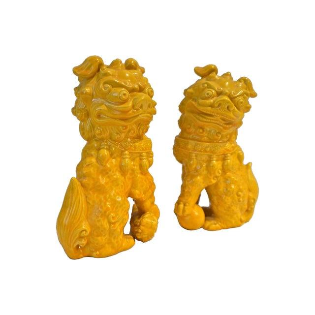 Yellow Ceramic Foo Dog - Pair - Image 3 of 5