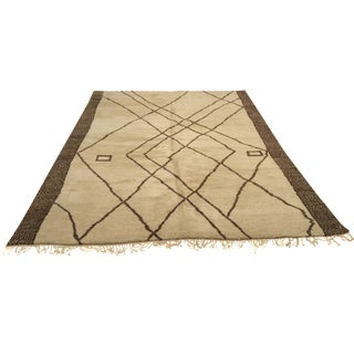 "Cream & Brown Moroccan Wool Rug - 9'8"" x 12'9"""