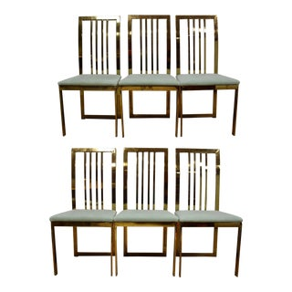 Modern Brass Dining Chairs - Set of 6