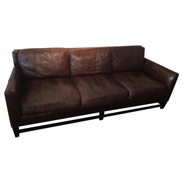 Image of Rich Distressed & Comfy Leather Couch