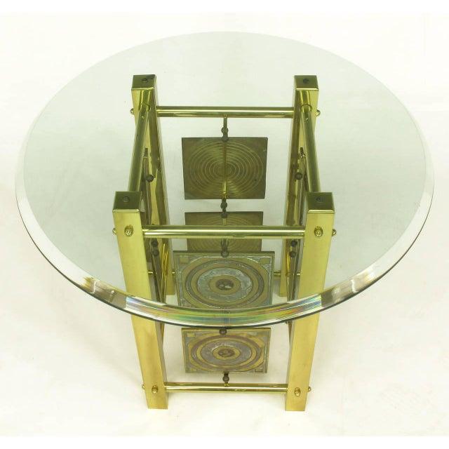 Postmodern Enameled Brass Panel Studio Side Table - Image 4 of 10