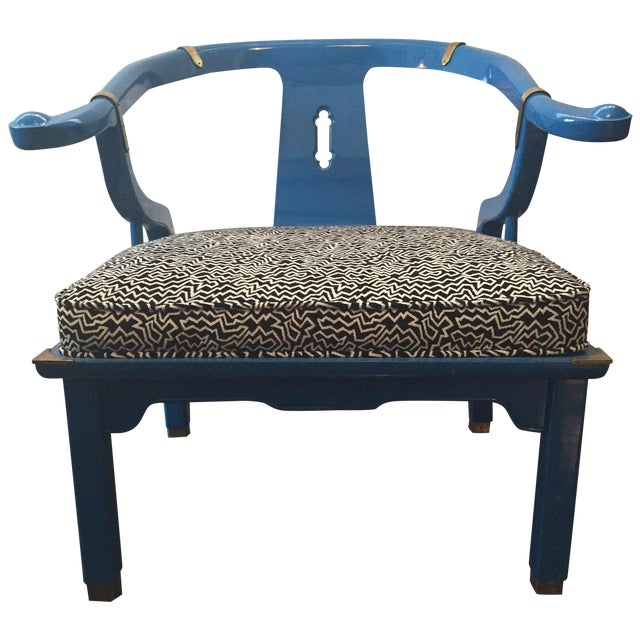 Century Furniture Electric Blue Asian Style Chair - Image 1 of 8