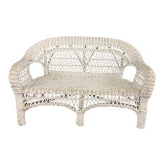 Vintage White Wicker Child's Sized Sofa