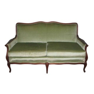 Carved Frame Love Seat With Lime Green Upholstery