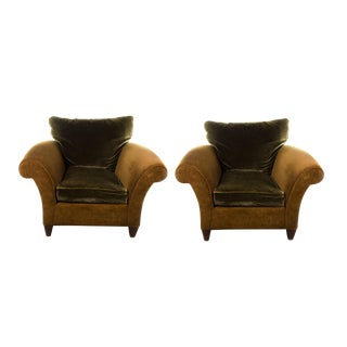 Hancock & Moore Mohair and Suede Club Chairs - A Pair