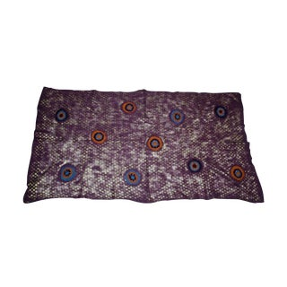 Indian Wool and Felt Bedcover in Purple