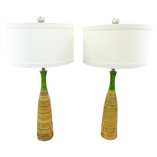 Retro Green & Brown Lamps - A Pair