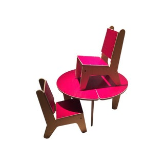 Red Blond Wood Baby Boomer Too Dining Set