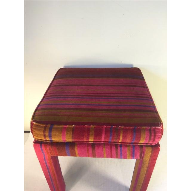 Mid-Century Stool with Pink Larsons Velvet Fabric - Image 4 of 5
