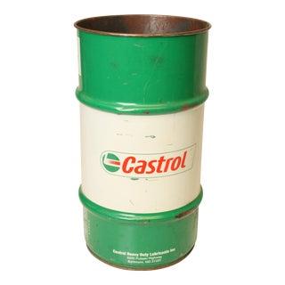 Vintage Industrial Metal Castrol Oil Trash Can