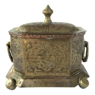 19th Century Antique Moroccan Brass Tea Caddy Box