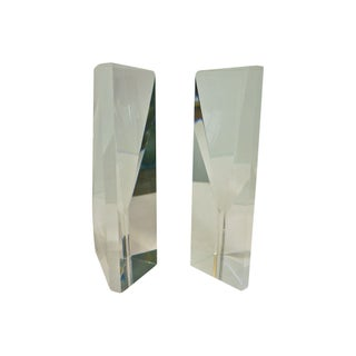 1970's Faceted Lucite Bookends - A Pair