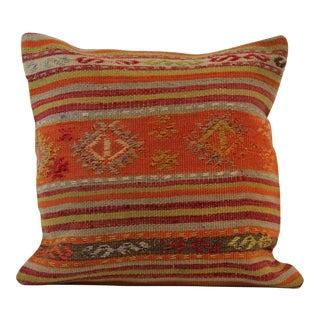 "Turkish Handmade Wool Kilim Pillowcase- 16"" X 16"""