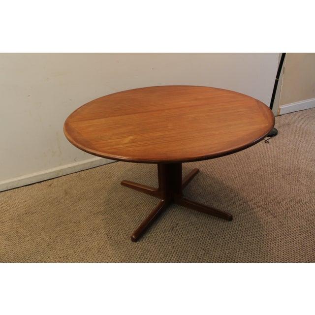 Mid century danish modern teak round dining table chairish for Mid century round dining table
