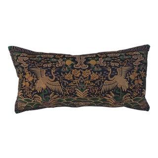 Hollywood Regency Gold & Black Asian Chinoiserie Boudoir Pillow