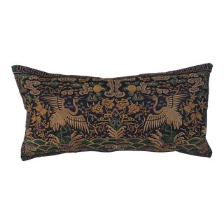 Hollywood Regency Gold & Black Asian Chinoiserie Boudoir Pillow