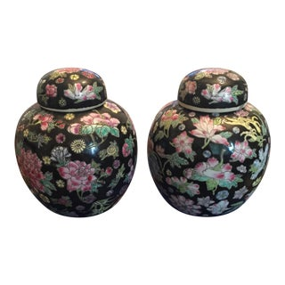 Chinoiserie Asian Black Floral Chintz Ceramic Ginger Jar Lidded Vases Urns - a Pair