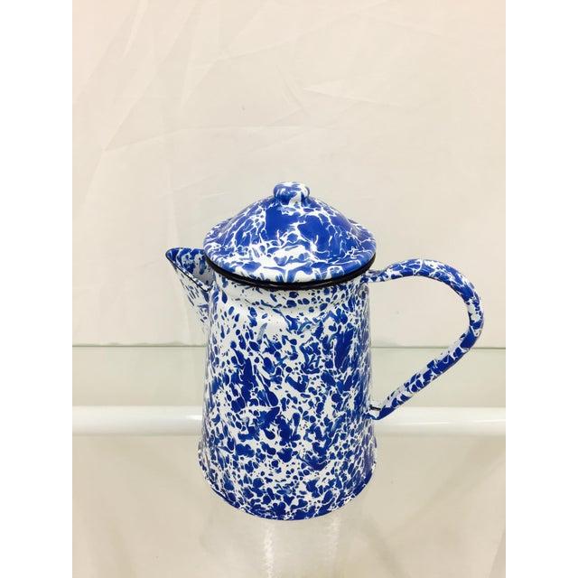 Blue & White Paint Splattered Enamel 5-Piece Tea Set - Image 10 of 11