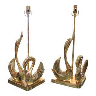 Brass Swan Lamps - A Pair