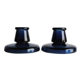 Indigo Blue Candle Holders - A Pair