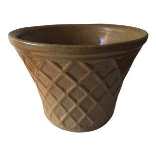 Vintage Glazed Pottery Basket Weave Planter