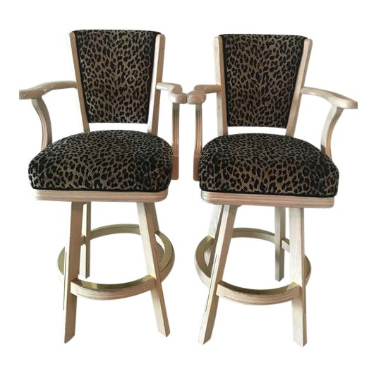 Leopard Print Swivel Bar Stools- A Pair - Image 1 of 6