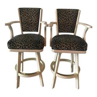 Leopard Print Swivel Bar Stools- A Pair