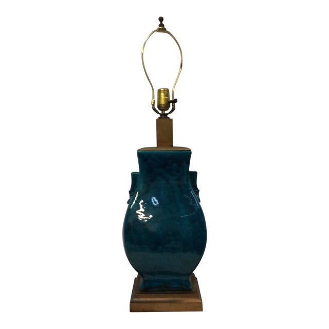 Turquoise Blue Asian Porcelain Lamp - Image 1 of 8