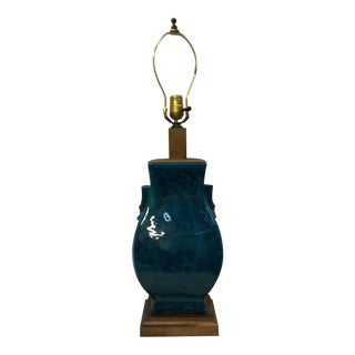 Turquoise Blue Asian Porcelain Lamp