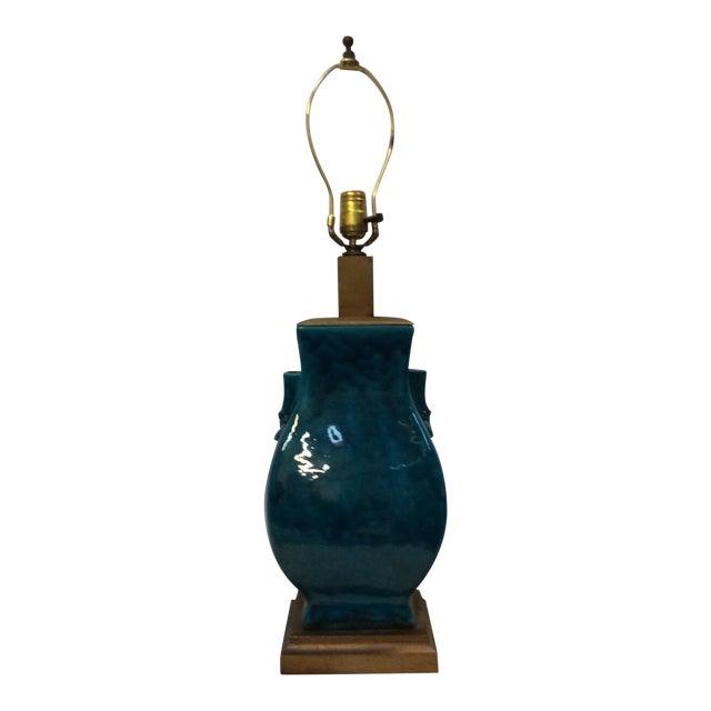 Image of Turquoise Blue Asian Porcelain Lamp