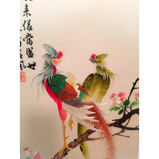 Silk Embroidered Chinoiserie Panels - Pair - Image 7 of 10