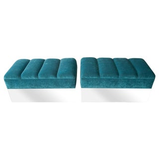 Turquoise Channel Tufted Ottomans - A Pair