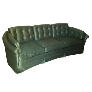 Mid-Century Jade Silk Tufted Sofa