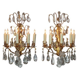 Pair of French Bronze & Crystal Sconce